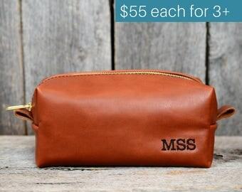 Groomsmen Gifts - Leather Toiletry Bag with Monogram - 15% discount for orders of 3+ - wedding gift groomsmen groomsman groom