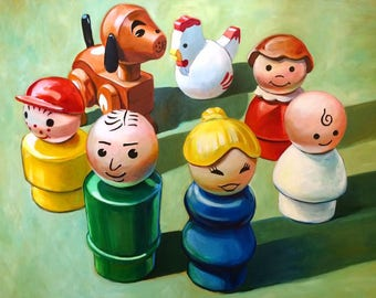 Little People Family Circle, 8x10 giclee print