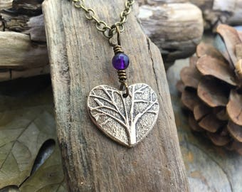 Tree Heart Necklace, Bronze Heart Charm, Valentine Gifts, Love Gifts, Heart Jewelry, Tree of Life Heart, Amethyst and Bronze, Tree Necklace