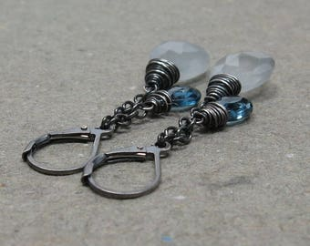 Moss Aquamarine Earrings London Blue Topaz Oxidized Sterling Silver March Birthstone Earrings