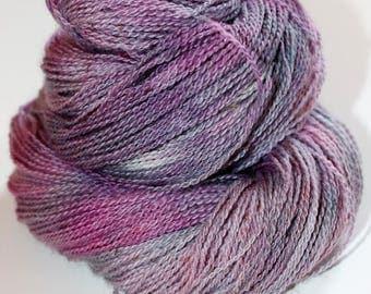 Mist, Hand Dyed, Hand Painted, Yarn, Alpaca, Lace, 300, Purple, Gray