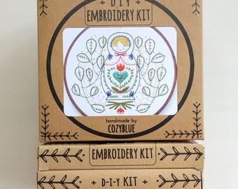 MISS MATRYOSHKA embroidery kit - embroidery hoop art, DIY stitching kit, nesting doll, russian folk art, nesting doll and leaves, stitching