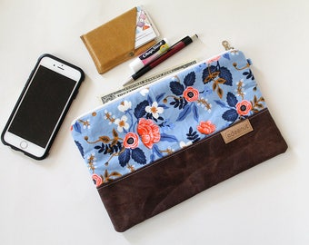 Zipper Clutch, Waxed canvas, Kindle, ipad device padded sleeve, metal zip pouch, canvas bag, Diaper wipes holder, makeup organizer Blue
