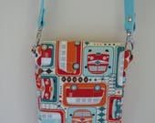 Mini Travel Hipster Passport Bag 3 Pockets Removable Shoulder Strap Made in USA Groovy VW Bus