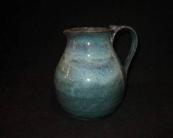 pitcher in mix of blues and greens, stoneware, pottery, dishwasher safe