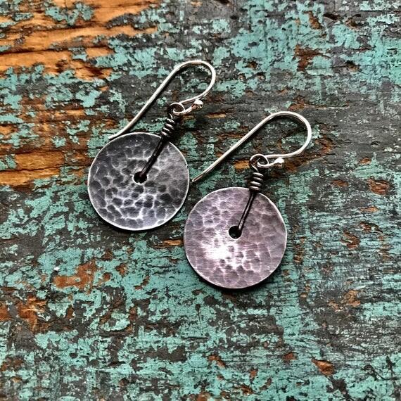 Tiny Sterling Disk Earrings