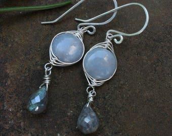 Angelite Labradorite Earrings, Sterling Silver Wire Wrapped Angelite Earrings, Artisan Labradorite Earrings, Blue Dangle Earrings, Sterling
