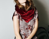 Royal Red Velvet Infinity Scarf