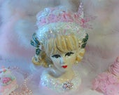 Pink Head Vase, Vintage Collectible, Christmas Lady Head Vase, Mid Century Ceramic Head Vase, Holiday Decorations, Christmas Decor, Repro