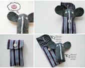 Gray Tweed Elephant Cuff Critter - Tiny Plushie - Stocking Stuffer - Tween Gift - Plush  Upcycled - Pocket Travel Size - Mini Pet - easter