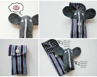Gray Tweed Elephant Cuff Critter - Tiny Plushie - Stocking Stuffer - Tween Kid Gift - Plush - Upcycled - Pocket Travel Size - Mini Pet