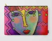 Funky Abstract Art Cosmetics Bag Carry All Pouch Clutch Bag Purse Handbag