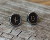 XO Earrings, XO Studs, Typewriter Earrings, Hugs and Kisses, Vintage Typewriter Jewelry, Valentine Earrings,