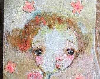 Pink Pixie - original 4x4 on wood