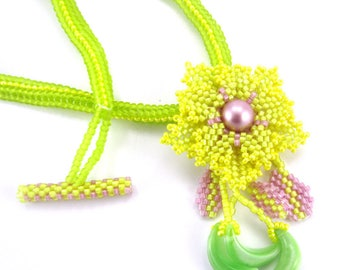 Peyote Stitch Necklace, Yellow and Pink Necklace, Beaded Necklace, Flower Necklace