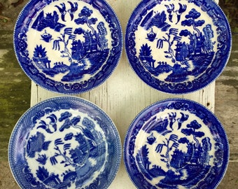 Japanese Blue Willow Dishes- Set of Four