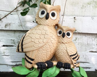 Homco Owls Molded Plastic Wall Hanging 1976 Vintage