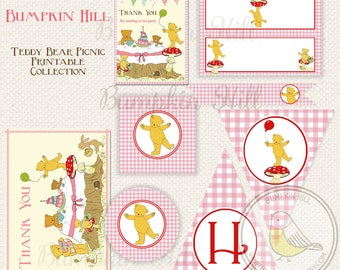Teddy Bear Picnic Party Collection - Printable - Teddy Favor Tags, Teddy Bear Decorations, Teddy Birthday Banner, Teddy Food Sign...