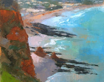 Dawlish Coast at Low Tide, abstract landscape oil painting, direct from artist
