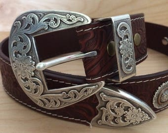 Western Leather Belt With Conchos