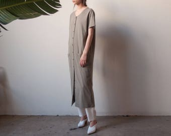 taupe cotton market dress / oversized summer midi maxi dress / long dress / s / 2263d