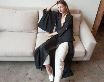 black kimono duster jacket / kimono robe / japanese kimono / s / m / l / 2247o