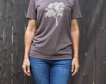 V Neck Elm Tree Tee Brown  XS, S,M,L,XL
