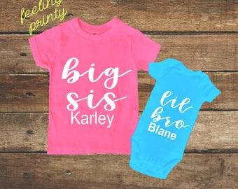 Big Sister shirt Little brother shirt set Sibling Shirt big sis lil bro shirt set Turquoise pink
