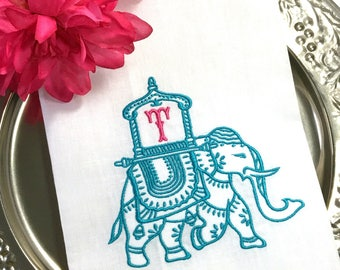 BOHO ELEPHANT Monogram Guest Towel. Personalized Powder Room Decor. Embroidered Linen Tea Towel. Chinoiserie Howdah Canopy.  Hostess Gift.