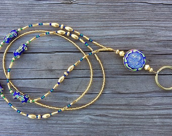 Beaded ID badge lanyard -The Egyptian- gold and blue glass ID badge beaded lanyard necklace for office nurse teacher gift