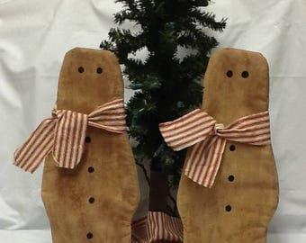 CustomerAppreciationSale Primitive Doll, Early Settlers, Christmas, Gingerbread Flatties ready to ship