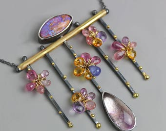 Boulder Opal, Pink Tourmaline Flowers on a Trellis Necklace