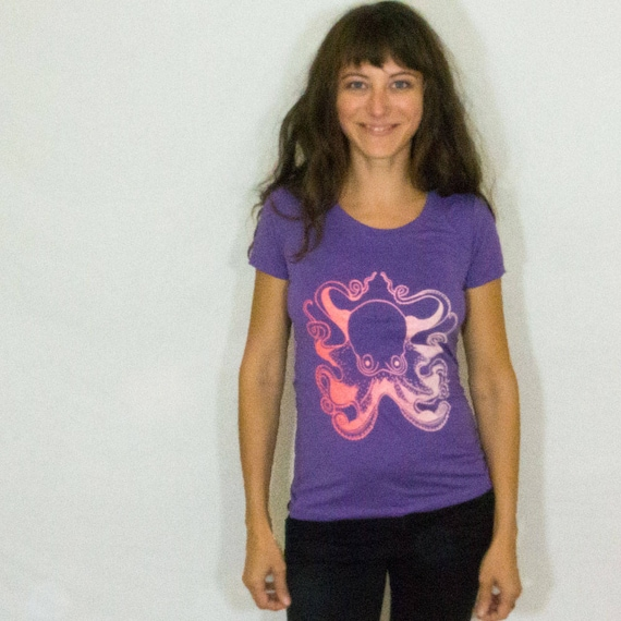 Women's Octopus Screen Printed Tee Shirt