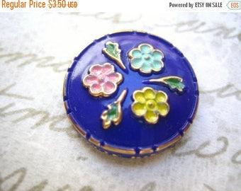 SALE 15% off Rare vintage glass blue lapis cobalt hand enameled flower cameo cab button 18mm (1)