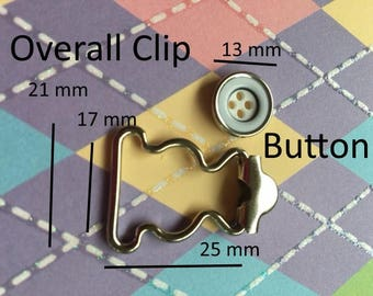 Overall Buckles with Sew-in Buttons - 17 mm width in Nickel finish (2, 6, or 16 sets)