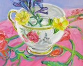 Reserved for Patti Teacup Bouquet 2 orginal still life painting by Polly Jones