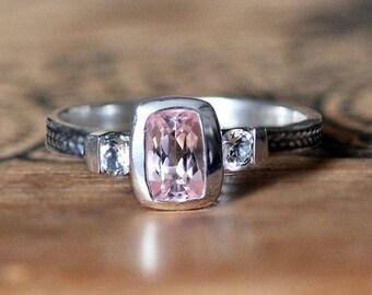 Morganite engagement ring, 3 stone ring, white topaz, braided ring, three stone ring, oxidized silver, braid ring, Wheat ring, size 6