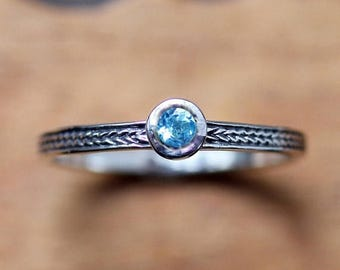 Swiss blue topaz ring, December birthstone ring,  gemstone stacking ring, oxidized silver ring, wheat ring braided ring ready to ship size 8