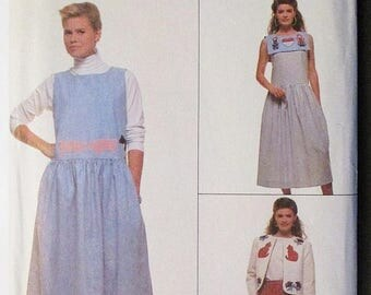 30% OFF SALE 1980s Vintage Sewing Pattern Simplicity 9054 Misses Dress or Jumper and Jacket Pattern Size 22 & 24 Uncut
