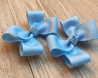 Blue Hair Bows,Pigtail Hair Bows,Hair Clippies,Non Slip Hair Bows,3 Inch Wide Hair Bows,Birthday Party Favors,Ready to Ship