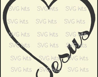 Jesus Heart SVG Commercial Use digital file for T shirts wood signs, htv Cricut Silhouette cut file Jesus' Love Christian Scripture Love Art
