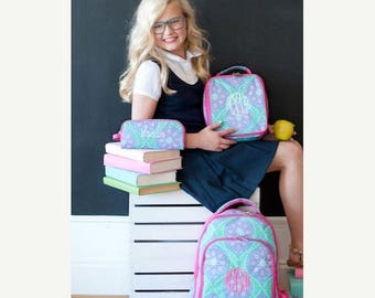 ON SALE Monogram backpack - back to school - monogram backpack for girls - hair bow -  backpack and lunch bag set - lunch box - pencil box -