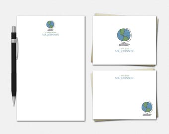 Globe Stationery Set - Personalized Stationery for Teachers - Personalized Stationery for Teachers - Gifts for Teachers - Globe Stationery