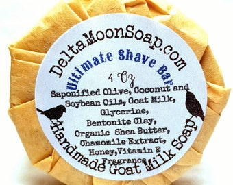 Handmade Goat Milk Shave Bar, Bentonite Clay, ready to ship, Cold Process Soap, Shaving soap, Chamomile extract soap, Organic Shea Soap