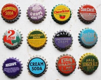 12 Wonderful Vintage Bottle Caps- Retro Brights