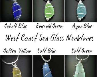Sea Glass Necklace, Your Color Choice, Seaglass Jewelry, Genuine Real Beach Combed, Spiral Wrapped, Jewellery, Seaglass Necklace