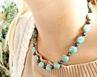 lapis pyrite, puruvian turquoise coins necklace N19