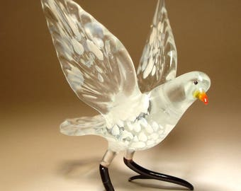 Handmade Blown Glass Figurine Art White and Clear Bird Dove Pigeon