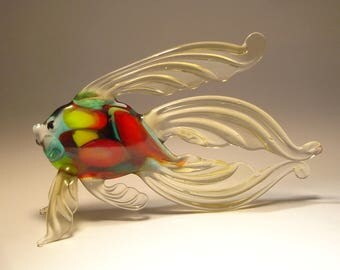 Handmade Blown Glass Art Figurine Beige Betta Fish with Colorful Body