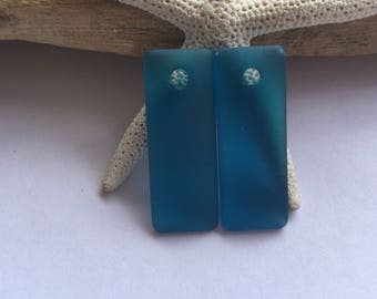 Teal sea glass bead - beach glass bead - rectangle drilled glass pendant - sea glass jewelry -frosted beach glass - bottle glass
